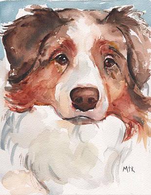 Australian Shepherd Red Merle Original by Maria's Watercolor