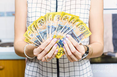 Australian Woman Holding 500 In 50 Dollar Notes Print by Jorgo Photography - Wall Art Gallery