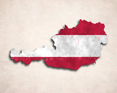 Austria Map Art With Flag Design Print by World Art Prints And Designs