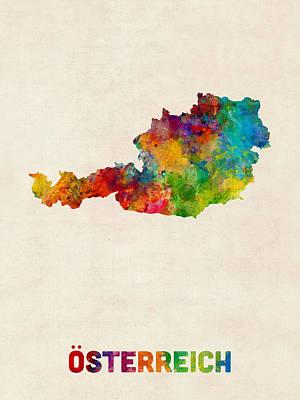 Austria Watercolor Map Print by Michael Tompsett