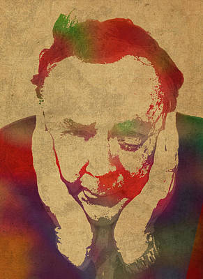 Author Mixed Media - Author James Patterson Watercolor Portrait by Design Turnpike