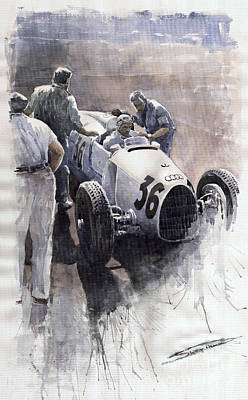 Automotive Painting - Auto Union B Type 1935 Italian Gp Monza B Rosermeyer by Yuriy  Shevchuk