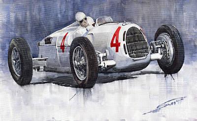 Sport Painting - Auto Union C Type 1937 Monaco Gp Hans Stuck by Yuriy  Shevchuk
