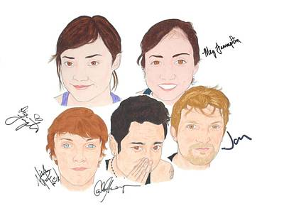 Alternative Rock Band Drawing - Autographed Meg And Dia by Michael Dijamco