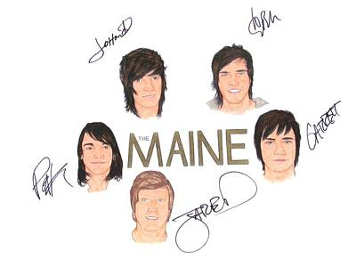 Alternative Rock Band Drawing - Autographed The Maine 18 X 24 by Michael Dijamco