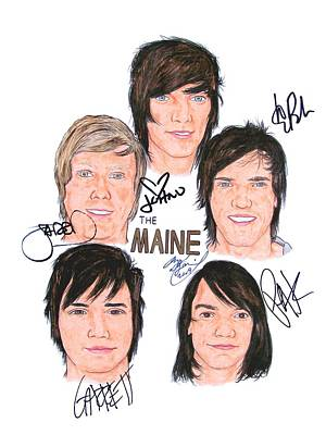 Alternative Rock Band Drawing - Autographed The Maine by Michael Dijamco