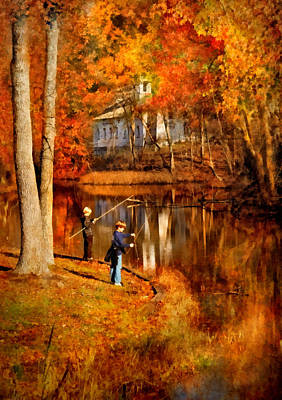 Gone Fishing Photograph - Autumn - People - Gone Fishing by Mike Savad