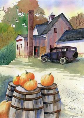 Barrel Painting - Autumn At Clyde's Cider Mill by Marsha Elliott