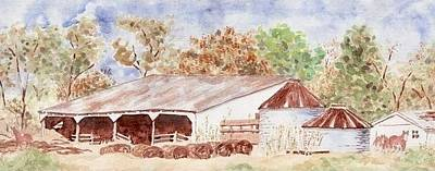 Wash Drawing - Autumn Barn by Bill Torrington