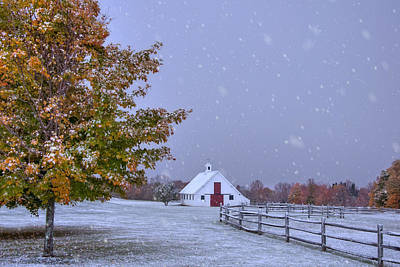 Autumn Barn In Snow - Vermont Print by Joann Vitali