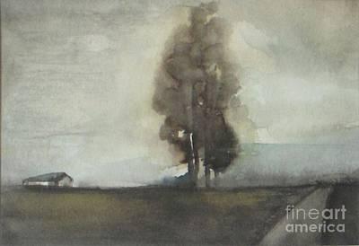 Prairie Sky Painting - Autumn Barn by Vesna Antic