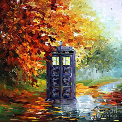 Fandom Painting - Autumn Blue Phone Box Digital Art by three Second