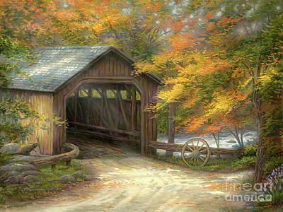 Autumn Bridge Original by Chuck Pinson