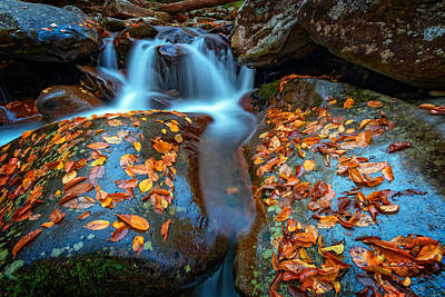 Little Red River Photograph - Autumn Cascade In The Smokies by Rick Berk