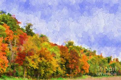 Autumn Color On A Hillside - Digital Paint Print by Debbie Portwood