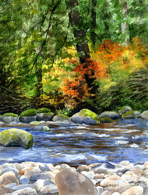 Fir Trees Painting - Autumn Colors In A Forest by Sharon Freeman