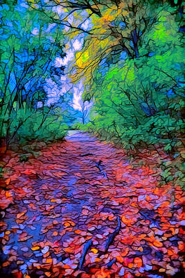 Plein Air Digital Art - Autumn Colors In The Woods by Lilia D