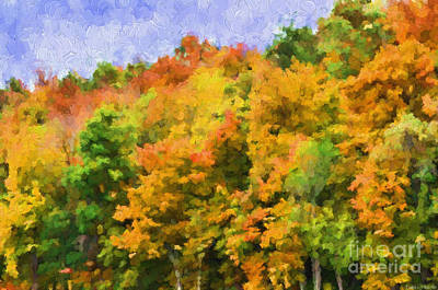Autumn Country On A Hillside II - Digital Paint Print by Debbie Portwood