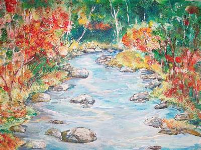 Original Painting - Autumn Creek by Mary Sedici