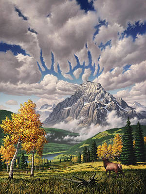 Elk Painting - Autumn Echos by Jerry LoFaro