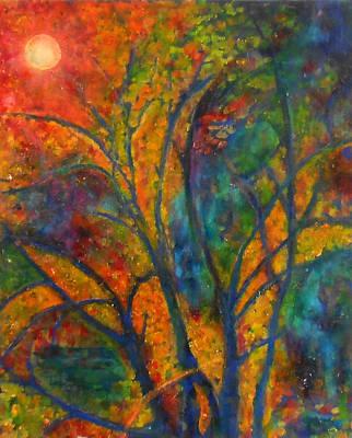 Fantasy Tree Mixed Media - Autumn Embers by Caroline Czelatko