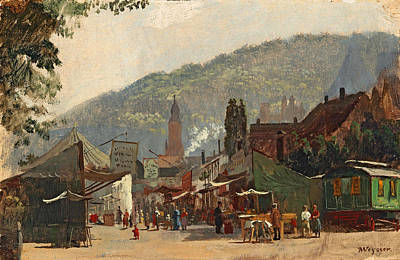 Painting - Autumn Fair At The Jubilaeumsplatz In Heidelberg by Karl Weysser