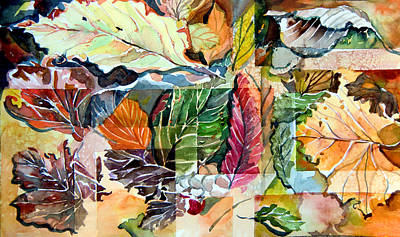 Mosaics Drawing - Autumn Falls by Mindy Newman