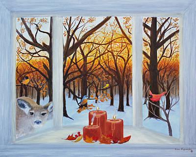Deer Painting - Autumn Gathering by Ken Figurski