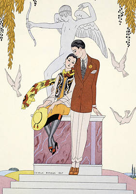 Beaux Arts Drawing - Autumn by Georges Barbier