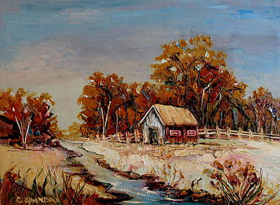 River Scenes Painting - Autumn House By The Stream by Carole Spandau