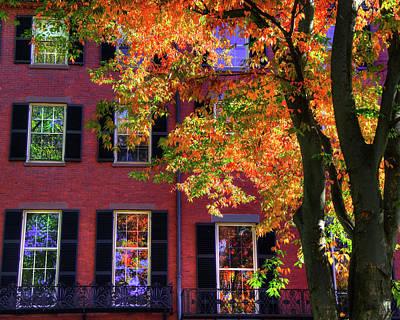 Boston Photograph - Autumn In Boston - Louisburg Square - Boston by Joann Vitali