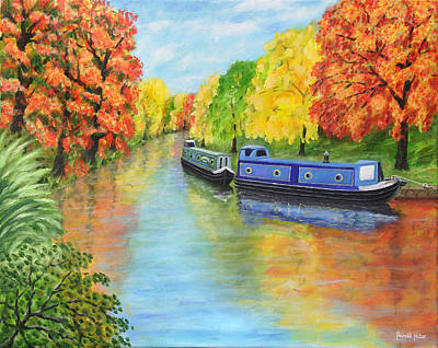 Canals Painting - Autumn In Lymm by Ronald Haber
