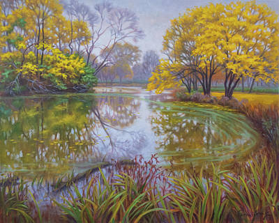 Chicago Reflections Painting - Autumn In Silver Gold And Copper by Fiona Craig
