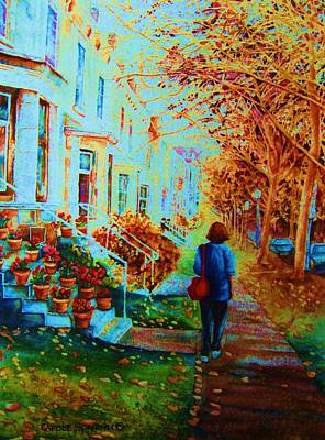 Quebec Painting - Autumn In Westmount by Carole Spandau