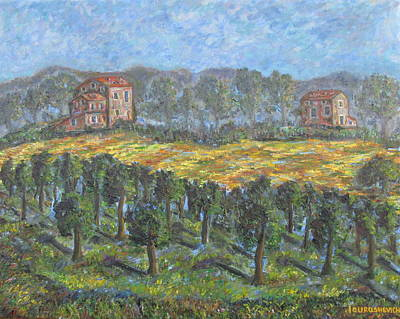 Life In Italy Painting - Autumn Landscape In Italian Countryside With Typical Houses And Vineyards by Katerina Iourashevich Ricci