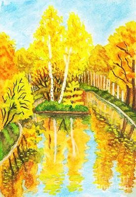 Autumn Painting - Autumn Landscape With Island, Painting by Irina  Afonskaya
