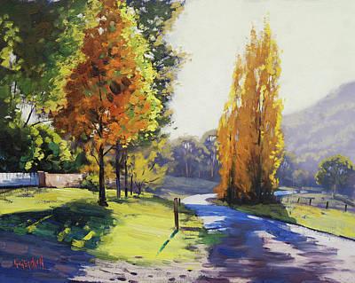 Landscape Oil. Aspen Trees Painting - Autumn Light Tarana by Graham Gercken