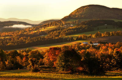 Fall Photograph - Autumn Mountain Sunrise - Peacham Vermont by Joann Vitali