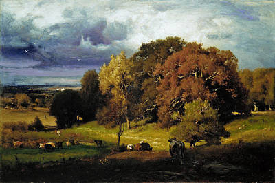 George Inness Painting - Autumn Oaks by George Inness