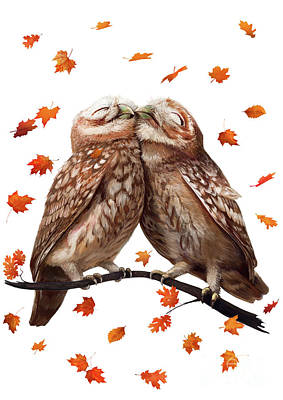 Owl Drawing - Autumn Owl by Korenkova Valeriya