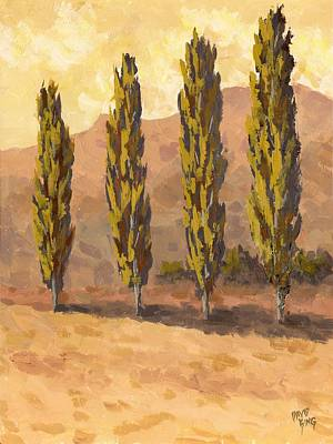 Fall Scenes Painting - Autumn Poplars by David King