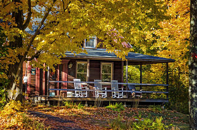 Chair Photograph - Autumn Porch by Donna Doherty