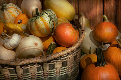 Autumn - Pumpkins In A Basket Print by Mike Savad