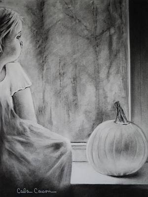 Pumpkin Drawing - Autumn Rain by Carla Carson