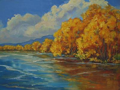 Balloon Fiesta Painting - Autumn Reflections by Celeste Drewien