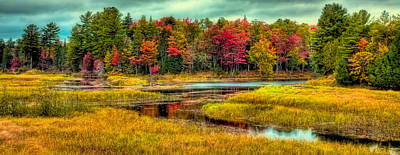 Autumn Reflections In Old Forge Print by David Patterson