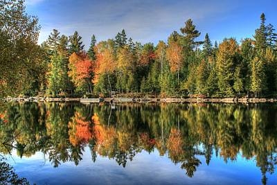 Northwoods Photograph - Autumn Reflections Of Maine by Shelley Neff