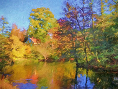 Autumn River Print by Impressionist Art