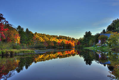New England Fall Photograph - Autumn River Reflections - New Hampshire by Joann Vitali