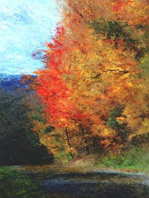 Digital Painting - Autumn Roadside by David Lane
